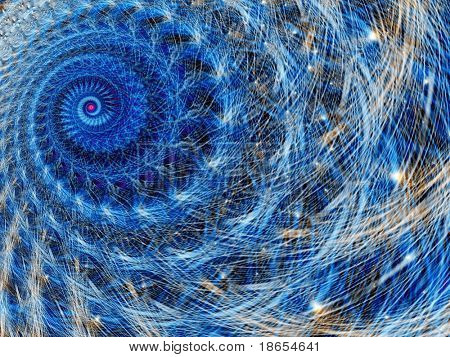 Fractal image of an abstract spiral galaxy or constellation.