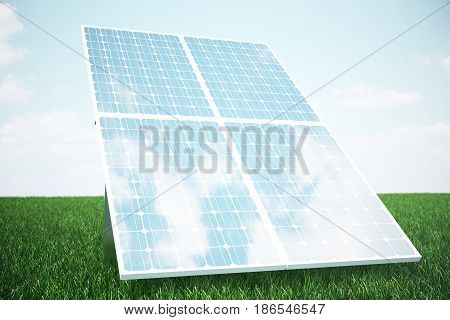 3D illustration solar panels on grass. Solar panel produces green, environmentally friendly energy from the sun. Concept energy of the future.