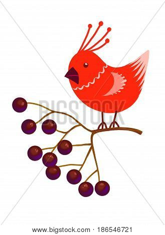 Cute little cartoon birdie character. Red stylized funny bird sitting on Rowan branch with berries. forest animal. Isolated design element