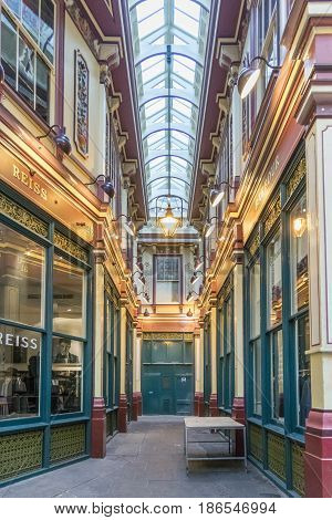 LONDON, UK, 19TH NOVEMBER 2016 - Leadenhall market covered shopping arcade dating back to the 14th Century in the city of London