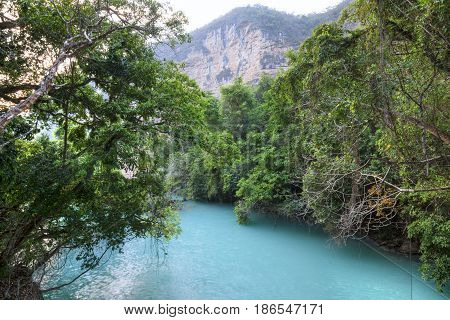 Pristine landscape of turquoise blue water surrounded by dense tropical vegetation in Rio la Venta Canyon in Chiapas Mexico