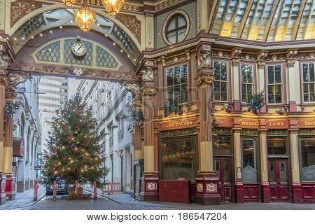 LONDON, UK, 19TH NOVEMBER 2016 - Leadenhall market covered shopping arcade dating back to the 14th Century in the city of London at Christmas