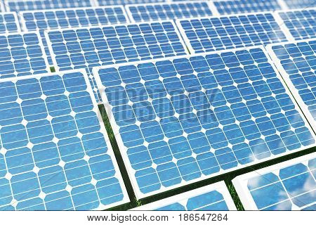 3D illustration Solar energy concept. Solar panels on grass. Blue sky reflection on photovoltaic panel. Power, ecology, technology, electricity. Lighting and background are from NoEmotion HDRs