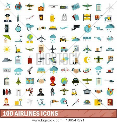 100 airlines icons set in flat style for any design vector illustration