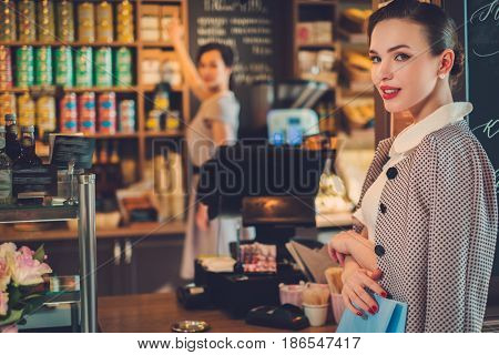 Young lady shopping in a bakery