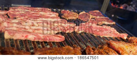 Grilled Meat On A Hot Grill.