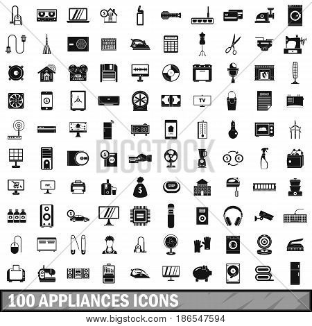 100 appliances icons set in simple style for any design vector illustration