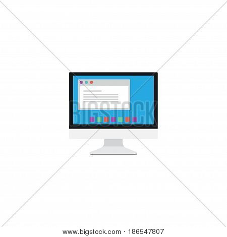 Flat Monitor Element. Vector Illustration Of Flat Display Isolated On Clean Background. Can Be Used As Display, Monitor And Screen Symbols.