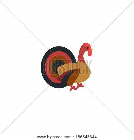 Flat Turkey Element. Vector Illustration Of Flat Turkeycock Isolated On Clean Background. Can Be Used As Turkey, Cock And Gobbler Symbols.