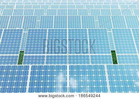 3D illustration reflection of the clouds on the photovoltaic cells. Energy and electricity. Alternative energy, eco or green generators. Power, ecology, technology, electricity