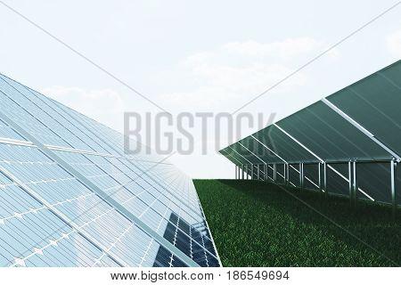 3D illustration solar panels on sky background. Alternative clean energy of the sun. Power, ecology, technology, electricity