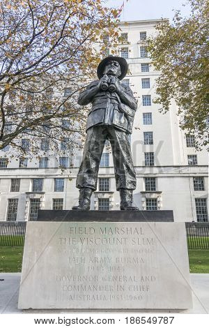 Field Marshal Viscount Slim Statue in Whitehall London