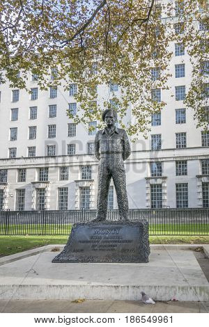 Field Marshal Viscount Montgomery of Alamein Statue in Whitehall London
