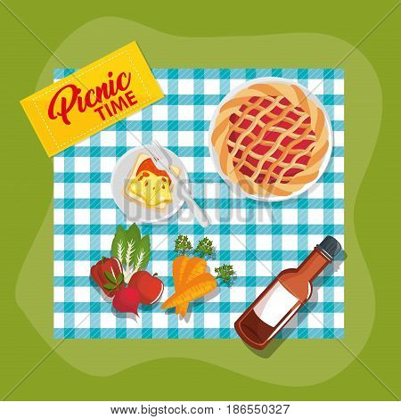 Picnic time design with teal gingham pattern blanket and food over green background. Vector illustration.