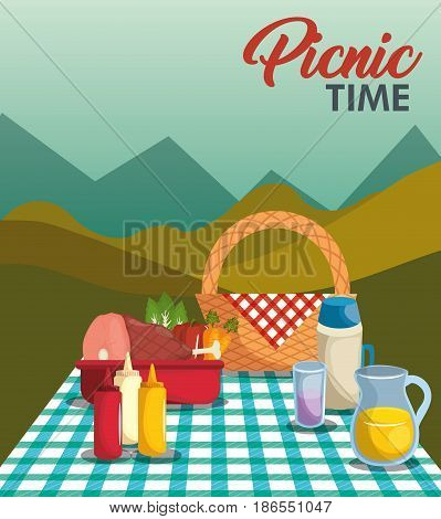 Picnic time design with basket, blue gingham pattern blanket and food over mountain landscape background. Vector illustration.