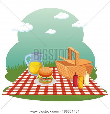 Picnic time design with basket, red gingham pattern blanket and food over field background. Vector illustration.