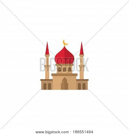 Flat Mosque Element. Vector Illustration Of Flat Minaret Isolated On Clean Background. Can Be Used As Mosque, Minaret And Building Symbols.