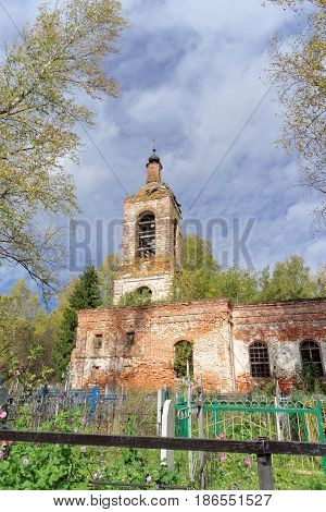 Nizhny Novgorod Region, Russia. - October 01.2016. Abandoned Orthodox Church at the cemetery in the village Novinki.