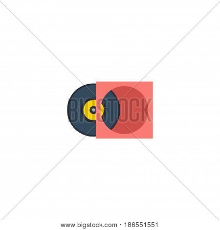 Flat Vinyl Element. Vector Illustration Of Flat Retro Disc Isolated On Clean Background. Can Be Used As Vinyl, Retro And Disc Symbols.