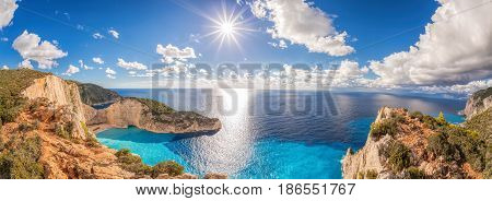 Beautiful Navagio Beach With Shipwreck On Zakynthos Island In Greece