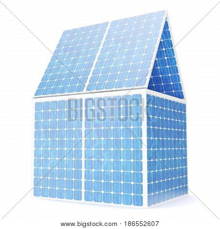 3D illustration concept of a house made of solar panels. Concept alternative electricity source. Eco energy, clean Energy.