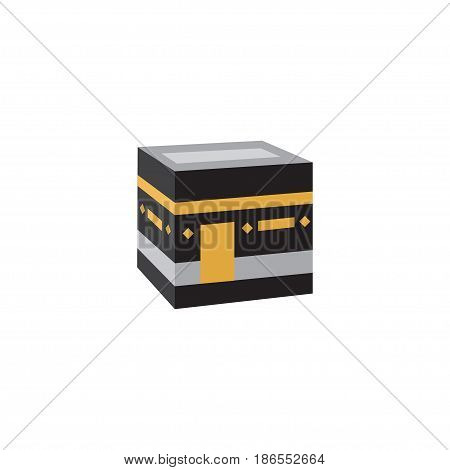 Flat Kaaba Element. Vector Illustration Of Flat Mecca Isolated On Clean Background. Can Be Used As Mecca, Kaaba And Mekkah Symbols.