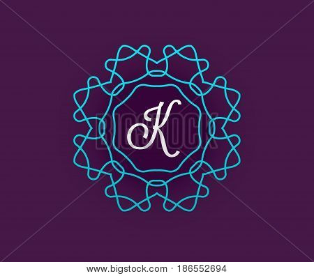 Monogram Design Template with Letter in Vector. Premium Elegant Quality Turquoise on Violet with White Letter.