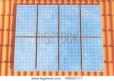 3D illustration solar panels on a red roff, power generation technology. Alternative energy. Solar battery panel modules with scenic sunset with blue sky with sun light