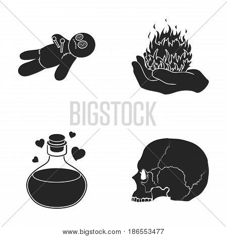 A voodoo doll, a magical fire, a love potion, a skull.Black and white magic set collection icons in black style vector symbol stock illustration .