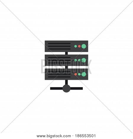 Flat Server Element. Vector Illustration Of Flat Datacenter Isolated On Clean Background. Can Be Used As Server, Database And Datacenter Symbols.