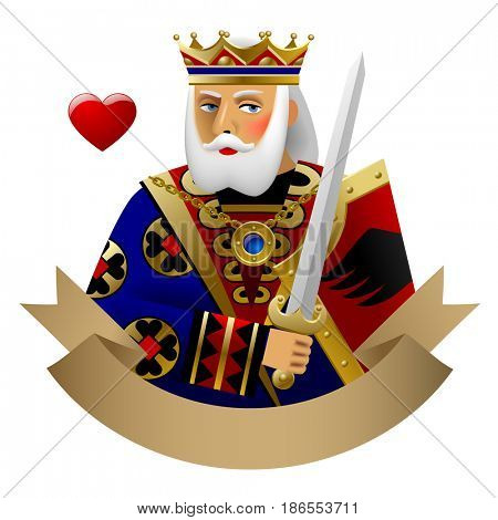 Playing cards King of heart with banner isolated on white