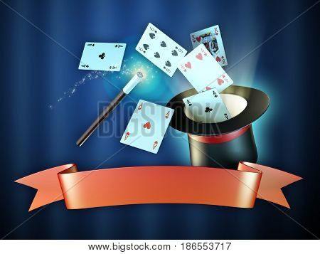 Magician show composition with hat, cards, magic wand and a red banner. 3d illustration.