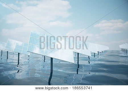 3D illustration of big solar panels on sea, ocean or river. Reflection of the clouds on the photovoltaic cells. Alternative clean energy of the sun. Power, ecology, technology, electricity