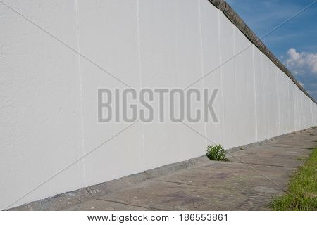 The  Berlin Wall,  Overpainted And Blank White At East Side Gallery In Berlin