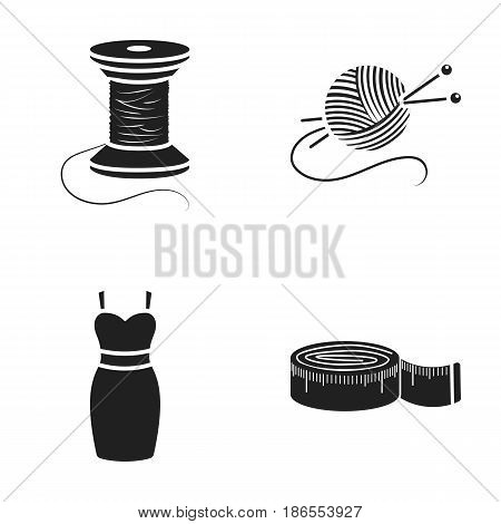 Coil of thread, centimeter, dress, ball of thread with knitting needles.Atelier set collection icons in cartoon style vector symbol stock illustration.