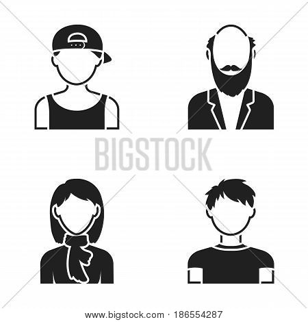 Boy in a cap, redheaded teenager, grandfather with a beard, a woman.Avatar set collection icons in black style vector symbol stock illustration .