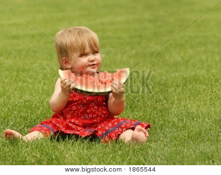 Baby Girl With Watermelon