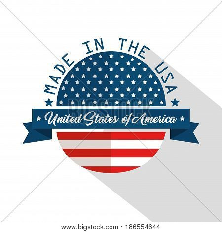 Made in the USA design with flag and ribbon over white background. Vector illustration
