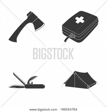 Ax, first-aid kit, tourist tent, folding knife. Camping set collection icons in black style vector symbol stock illustration .