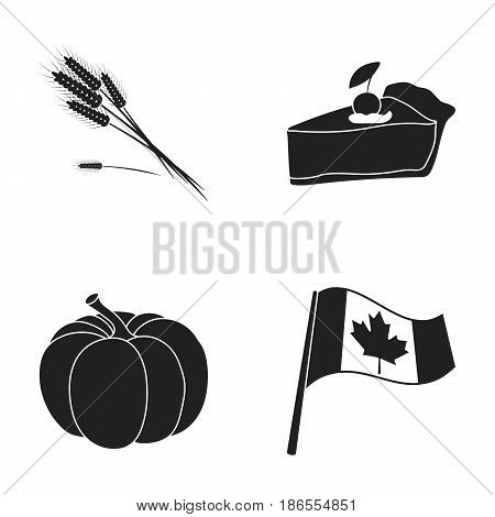 Spike of wheat, a piece of pie with cranberries, pumpkin, national flag.Canada thanksgiving day set collection icons in black style vector symbol stock illustration .