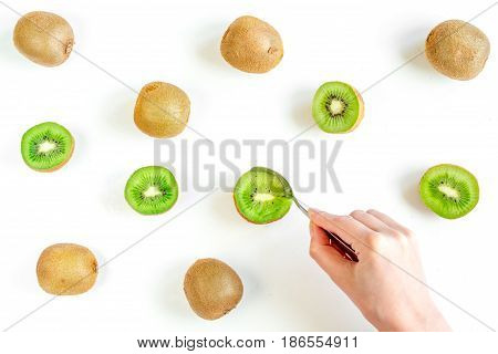 healthy green food with kiwi on white desk background top view pattern