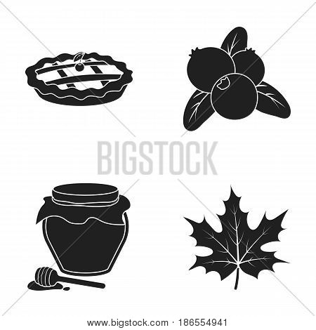 Cranberry, pumpkin pie, honey pot, maple leaf.Canada thanksgiving day set collection icons in black style vector symbol stock illustration .