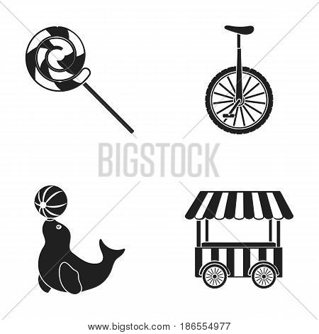 Lollipop, trained seal, snack on wheels, monocycle.Circus set collection icons in black style vector symbol stock illustration .