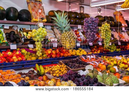 Fruits in shop - food background
