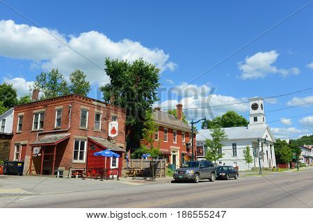 JOHNSON, VT, USA - JUL.11, 2014: Main Street in the historic town of Johnson, Vermont, USA.
