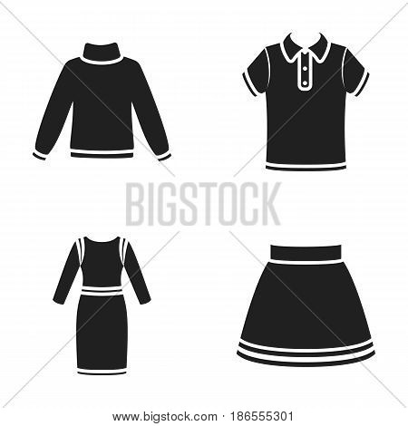 Skirt, t-shirt, sweater, dress with long sleeves.Clothing set collection icons in black style vector symbol stock illustration .