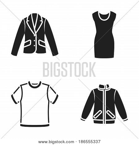 A mans jacket, a tunic, a T-shirt, a business suit. Clothes set collection icons in black style vector symbol stock illustration .