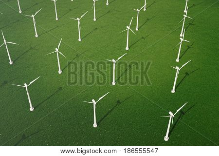 3d illustration, wind turbine with blue sky. Energy and electricity. Alternative energy, eco or green generators. Power, ecology, technology, electricity