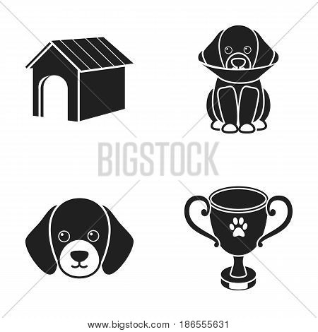 Dog house, protective collar, dog muzzle, cup. Dog set collection icons in black style vector symbol stock illustration .