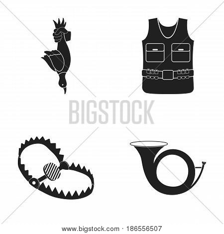 A trophy in his hand, a steel trap, a hunting vest with patronage, a horn..Hunting set collection icons in black style vector symbol stock illustration .
